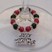 Merry Christmas Wine Glass Charm - Full Sparkle Style
